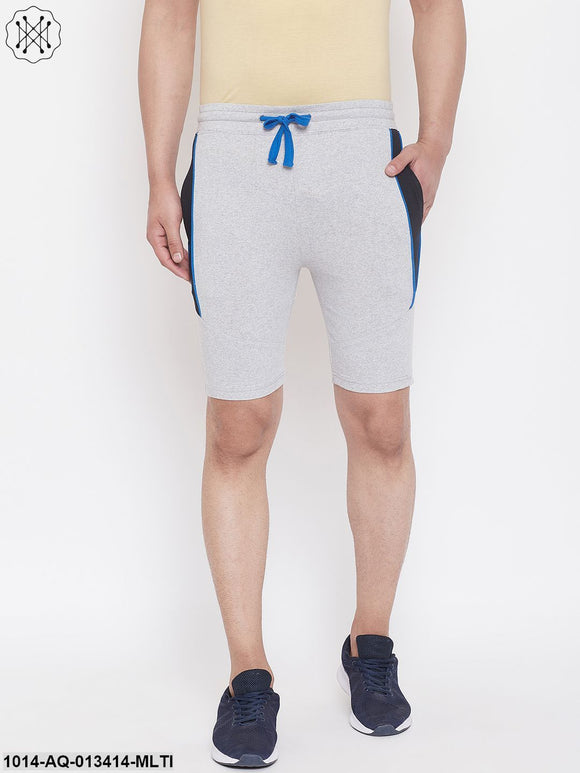 Gritstones Grey Melange/Black Men'S Color Block Shorts
