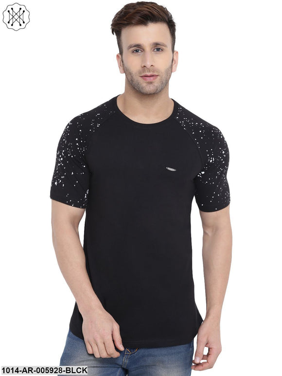 Black coloured Solid Half Sleeves Round neck T- shirt for Men