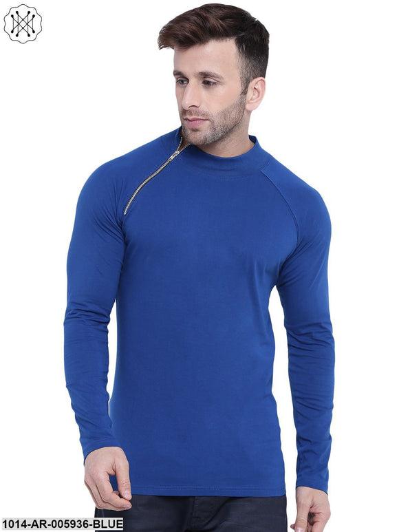Blue coloured Solid Full Sleeves Round neck T- shirt for Men