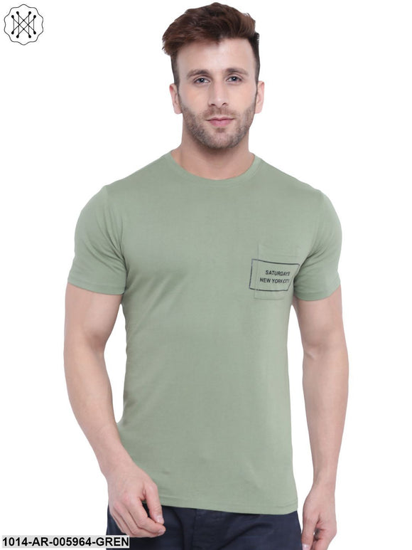 Green coloured Printed Half Sleeves Round neck T- shirt for Men
