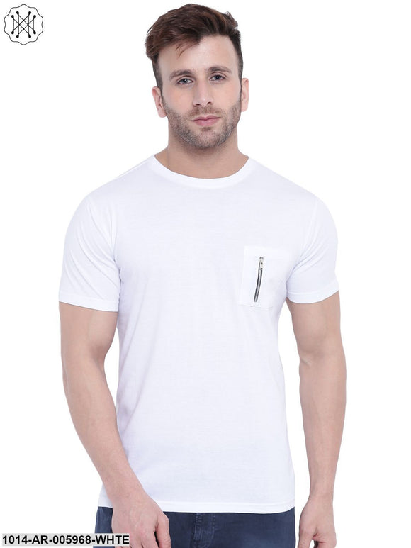 White coloured Printed Half Sleeves Round neck T- shirt for Men