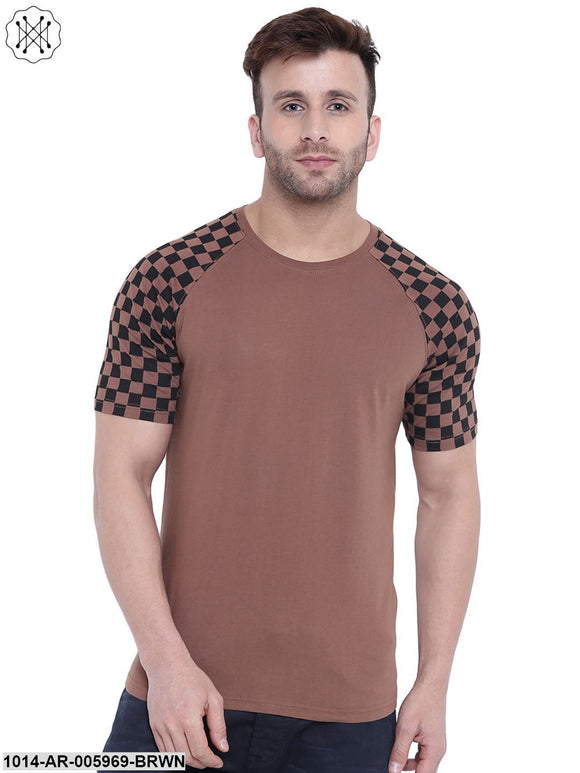 Brown coloured Printed Half Sleeves Round neck T- shirt for Men