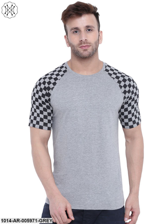 Grey coloured Printed Half Sleeves Round neck T- shirt for Men