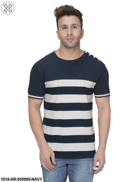 Navy  coloured Striped Half Sleeves Round neck T- shirt for Men