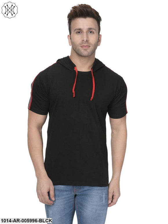 Black coloured Solid Half Sleeves Hooded T-shirt for Men
