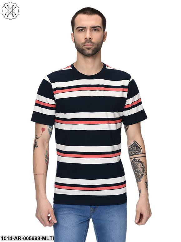 Multicolored Checkerd Half Sleeves Round neck T- shirt for Men