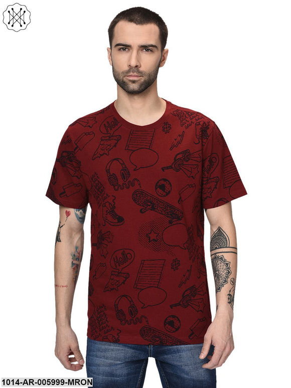 Maroon coloured Printed Half Sleeves Round neck T- shirt for Men