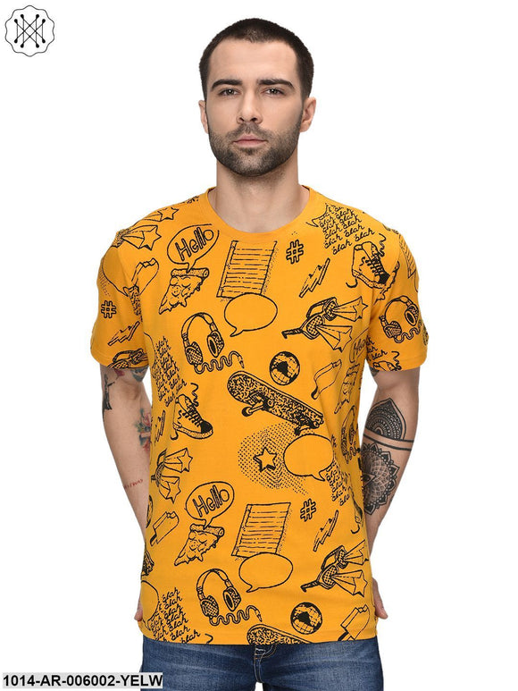 Yellow coloured Printed Half Sleeves Round neck T- shirt for Men