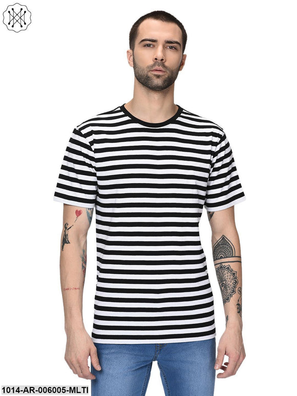 Multicolored Striped Half Sleeves Round neck T- shirt for Men
