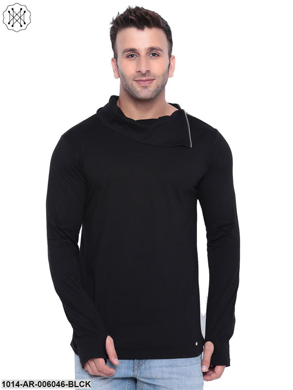 Black coloured Solid Full Sleeves High Neck T-shirt for Men