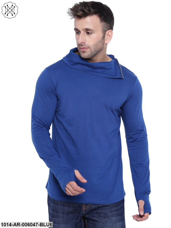 Blue coloured Solid Full Sleeves High Neck T-shirt for Men