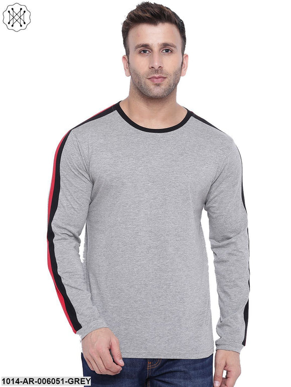 Grey coloured Solid Full Sleeves Round neck T- shirt for Men