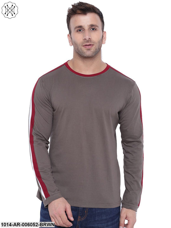 Brown coloured Solid Full Sleeves Round neck T- shirt for Men