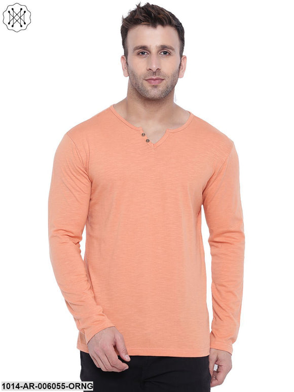 Orange coloured Solid Full Sleeves Round neck T- shirt for Men
