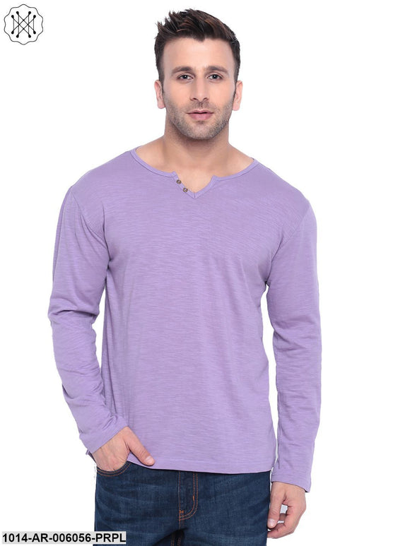 Purple coloured Solid Full Sleeves Round neck T- shirt for Men