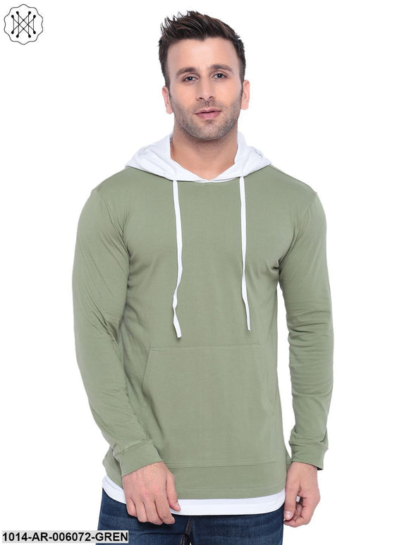 Green coloured Solid Full Sleeves Hooded T-shirt for Men