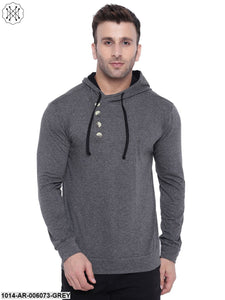Grey coloured Solid Full Sleeves Hooded T-shirt for Men
