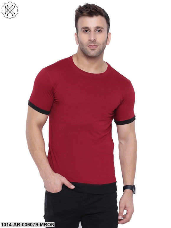 Maroon coloured Solid Half Sleeves Round neck T- shirt for Men