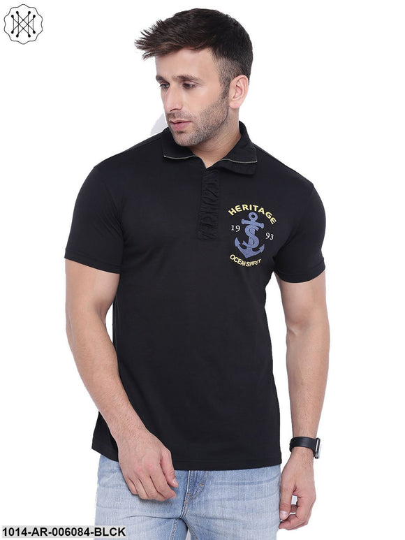 Black coloured Printed Half Sleeves Round neck T- shirt for Men