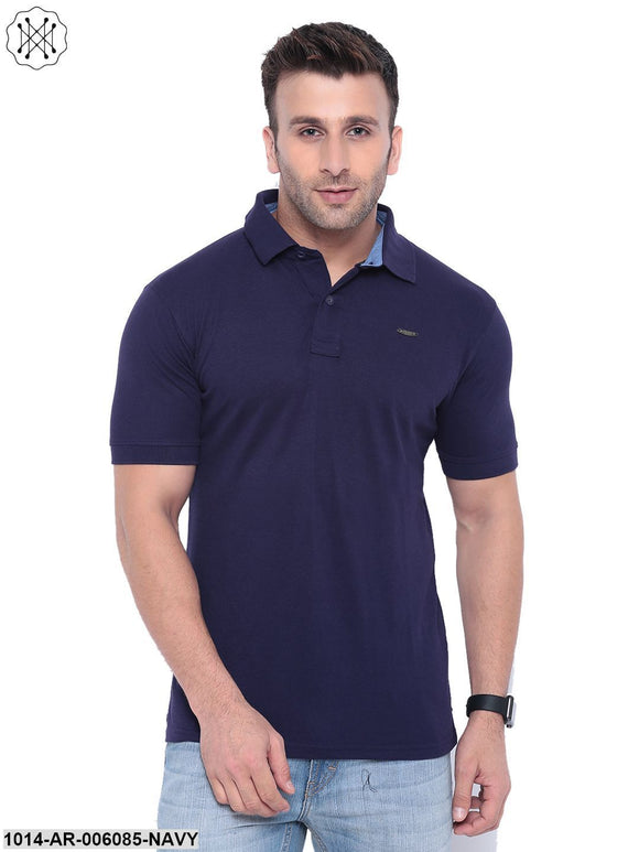 Navy coloured Solid Half Sleeves Polo T-shirt for Men