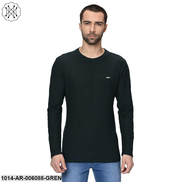 Green coloured Solid Full Sleeves Round neck T- shirt for Men