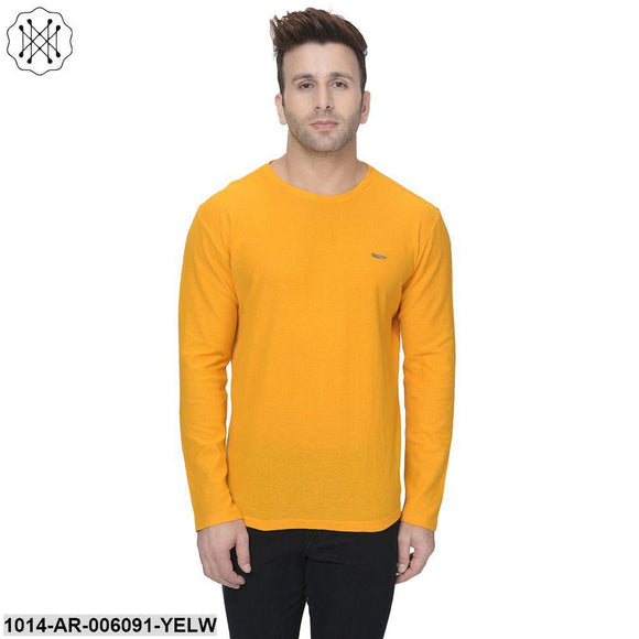 Yellow coloured Solid Full Sleeves Round neck T- shirt for Men