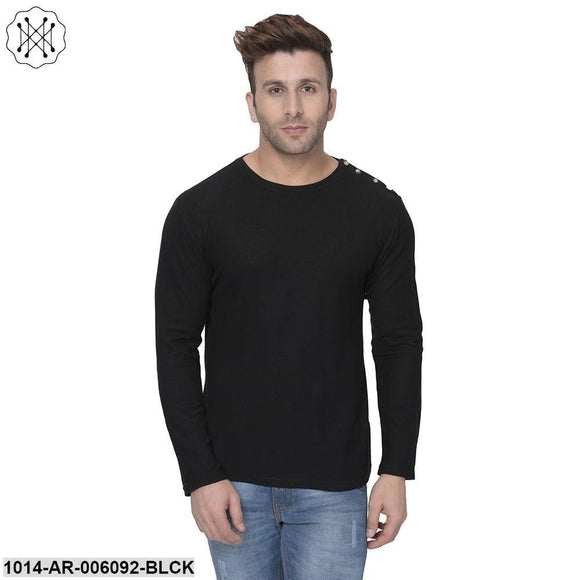 Black coloured Solid Full Sleeves Round neck T- shirt for Men