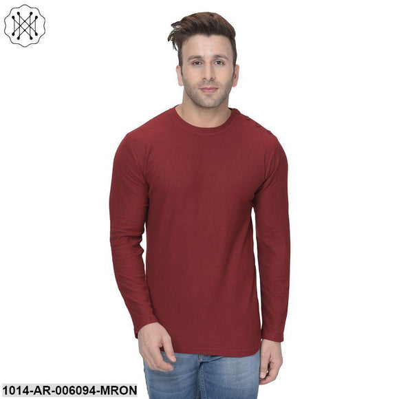 Maroon coloured Solid Full Sleeves Round neck T- shirt for Men