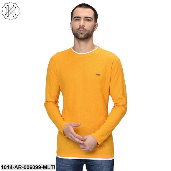 Multicolored Solid Full Sleeves Round neck T- shirt for Men
