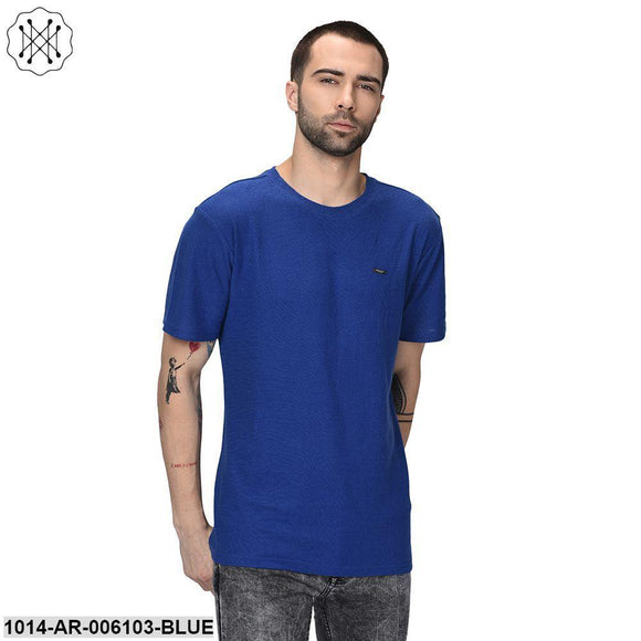 Blue coloured Solid Half Sleeves Round neck T- shirt for Men