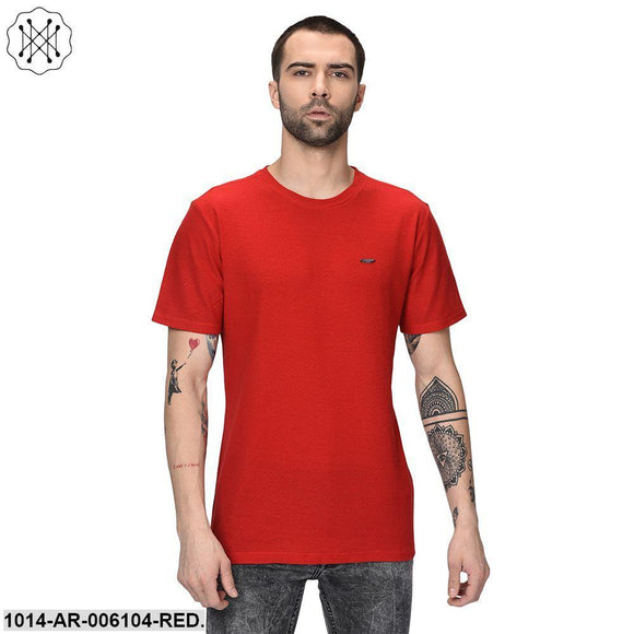 Red coloured Solid Half Sleeves Round neck T- shirt for Men