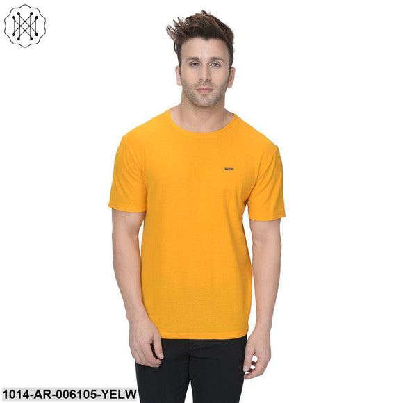 Yellow coloured Solid Half Sleeves Round neck T- shirt for Men