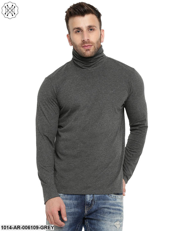 Grey coloured Solid Full Sleeves High Neck T-shirt for Men