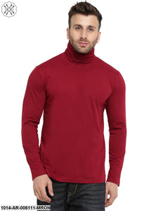 Maroon coloured Solid Full Sleeves High Neck T-shirt for Men