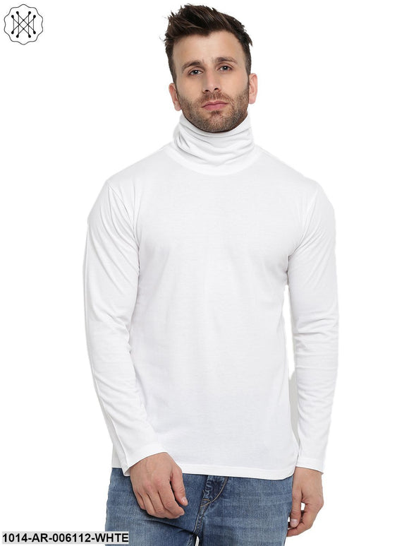 White coloured Solid Full Sleeves High Neck T-shirt for Men