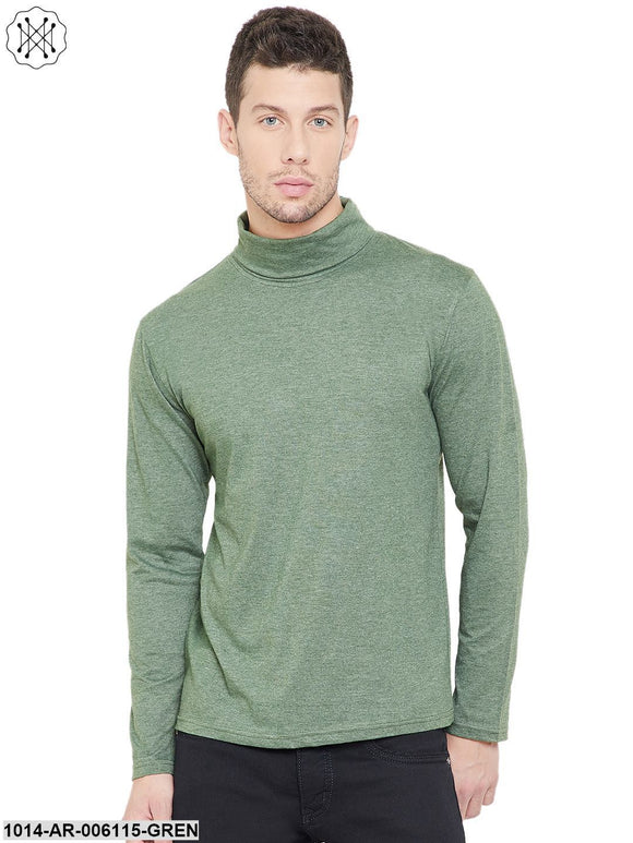 Green coloured Solid Full Sleeves High Neck T-shirt for Men