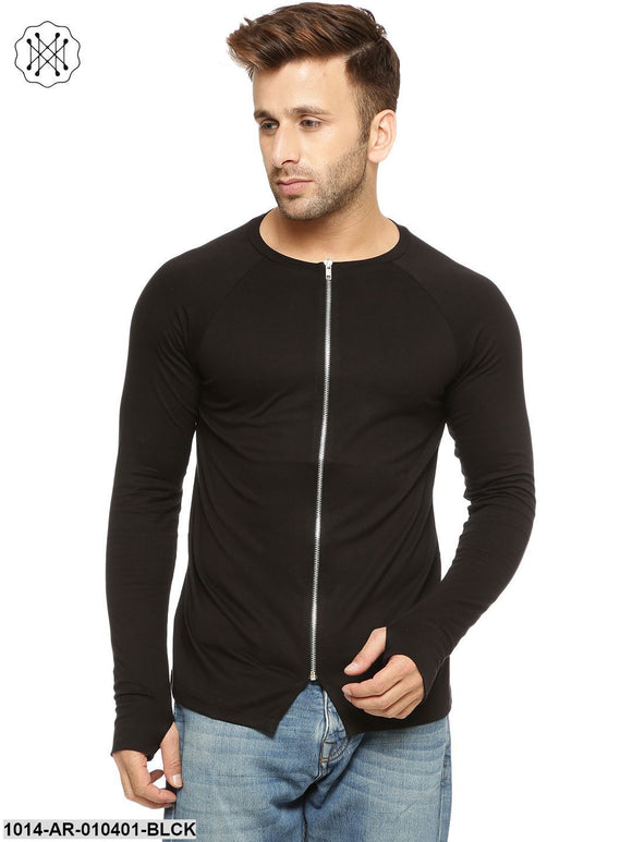 Black Solid Round Neck T-Shirt