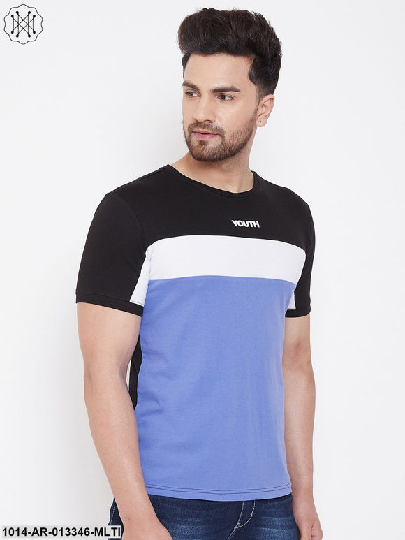 Gritstones Black/White/Blue Printed Men's Half Sleeves Round Neck T-Shirt