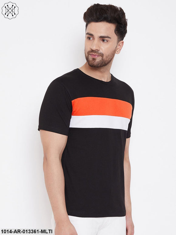 Gritstones Black/Orange/White Color Block Men's Full Sleeve Round Neck T-Shirt