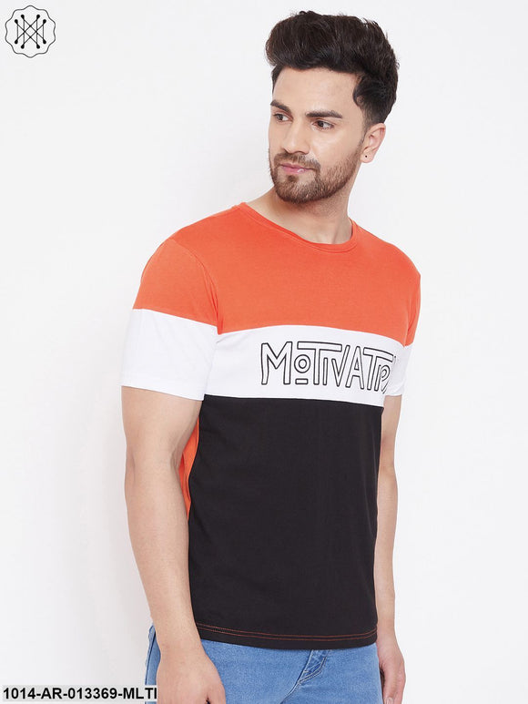 Gritstones Orange/White/Black Printed Men's Half Sleeves Round Neck T-Shirt