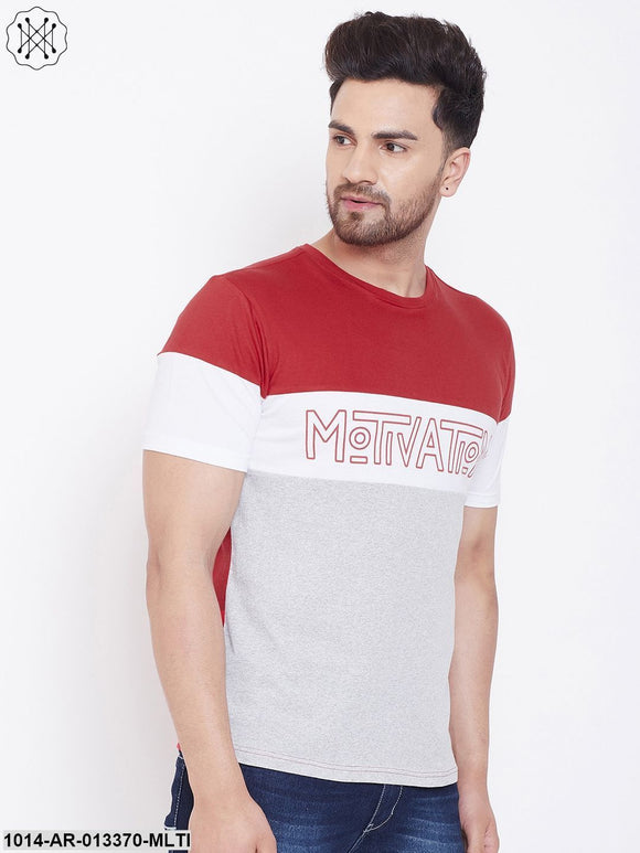 Gritstones Red/White/Grey Melange Printed Men's Half Sleeves Round Neck T-Shirt