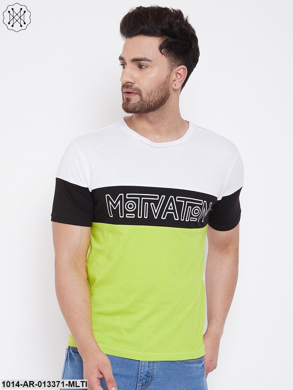 Gritstones White/BLACK/Neon Green Printed Men's Half Sleeves Round Neck T-Shirt