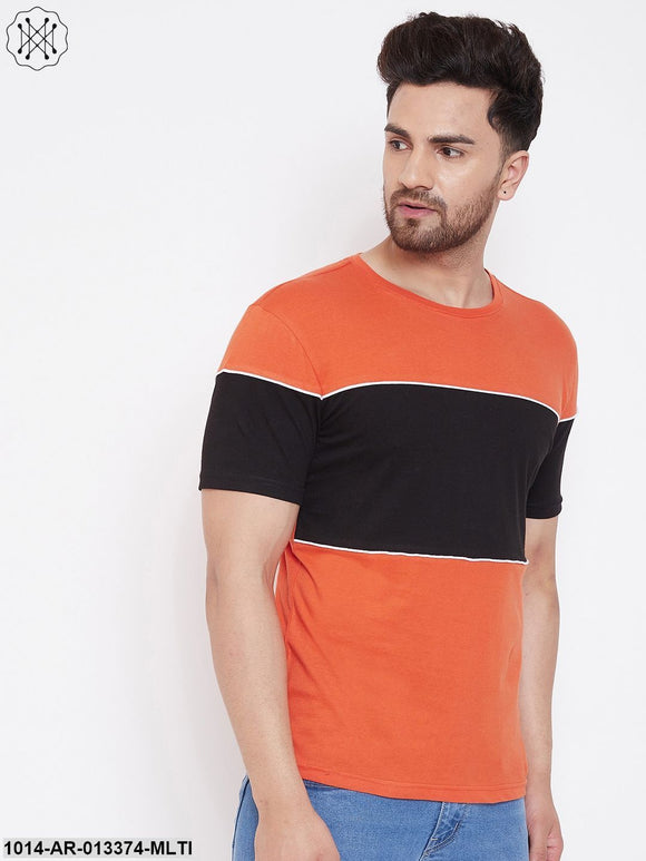 Gritstones Orange/Black/White Men's Half Sleeves Round Neck T-Shirt