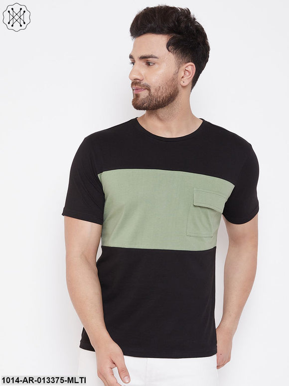 Gritstones Black/Moss Green Men's Half Sleeves Round Neck T-Shirt