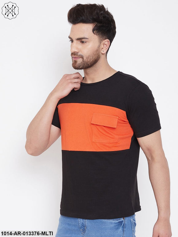 Gritstones Black/Orange Men's Half Sleeves Round Neck T-Shirt