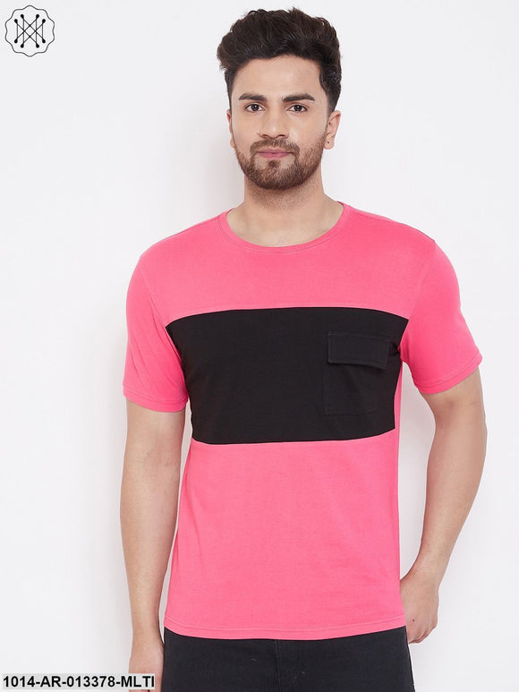 Gritstones Pink/Black Men's Half Sleeves Round Neck T-Shirt