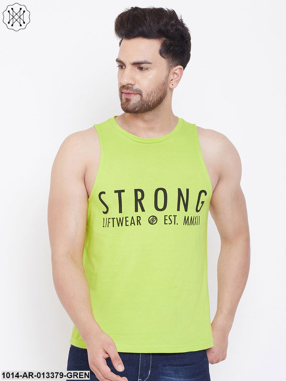 Gritstones Neon Green Men's Cotton Gym Sleeveless Printed Vest