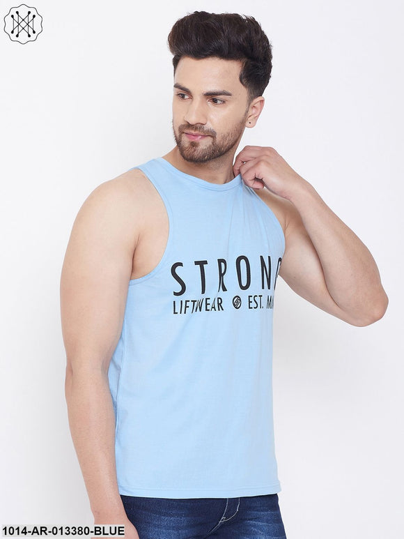 Gritstones Sky Blue Men's Cotton Gym Sleeveless Printed Vest