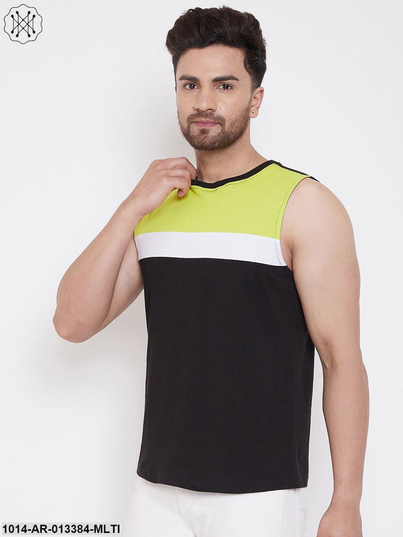 Gritstones Neon Green/White/Black Men's Cotton Color Block Sleeveless Vest