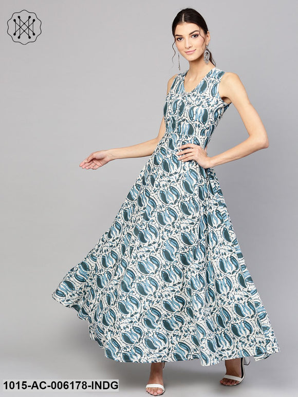 Indigo Paisley Sleeveless Flared Maxi